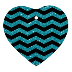 Chevron3 Black Marble & Turquoise Glitter Ornament (heart) by trendistuff