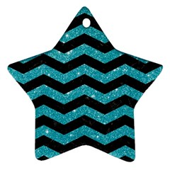 Chevron3 Black Marble & Turquoise Glitter Star Ornament (two Sides) by trendistuff