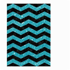 Chevron3 Black Marble & Turquoise Glitter Small Garden Flag (two Sides) by trendistuff