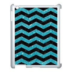 Chevron3 Black Marble & Turquoise Glitter Apple Ipad 3/4 Case (white) by trendistuff