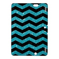 Chevron3 Black Marble & Turquoise Glitter Kindle Fire Hdx 8 9  Hardshell Case by trendistuff