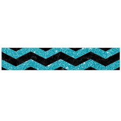 Chevron3 Black Marble & Turquoise Glitter Large Flano Scarf  by trendistuff