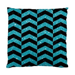 Chevron2 Black Marble & Turquoise Glitter Standard Cushion Case (two Sides) by trendistuff