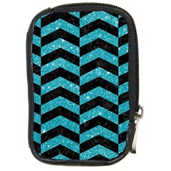 Chevron2 Black Marble & Turquoise Glitter Compact Camera Cases by trendistuff