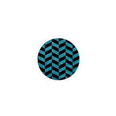 Chevron1 Black Marble & Turquoise Glitter 1  Mini Buttons