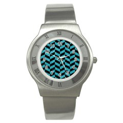 Chevron1 Black Marble & Turquoise Glitter Stainless Steel Watch by trendistuff