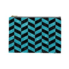 Chevron1 Black Marble & Turquoise Glitter Cosmetic Bag (large)  by trendistuff