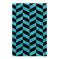 Chevron1 Black Marble & Turquoise Glitter Shower Curtain 48  X 72  (small)  by trendistuff