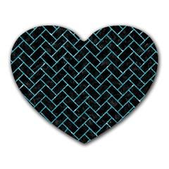Brick2 Black Marble & Turquoise Glitter (r) Heart Mousepads by trendistuff