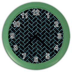 Brick2 Black Marble & Turquoise Glitter (r) Color Wall Clocks by trendistuff