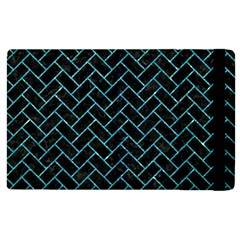 Brick2 Black Marble & Turquoise Glitter (r) Apple Ipad 2 Flip Case by trendistuff