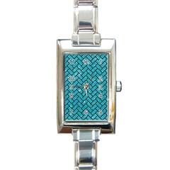 Brick2 Black Marble & Turquoise Glitter Rectangle Italian Charm Watch by trendistuff