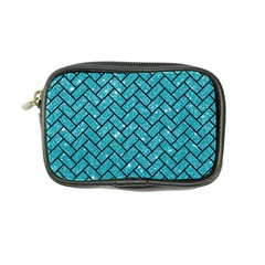 Brick2 Black Marble & Turquoise Glitter Coin Purse by trendistuff