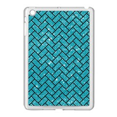 Brick2 Black Marble & Turquoise Glitter Apple Ipad Mini Case (white) by trendistuff
