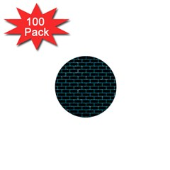 Brick1 Black Marble & Turquoise Glitter (r) 1  Mini Buttons (100 Pack)  by trendistuff