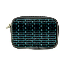 Brick1 Black Marble & Turquoise Glitter (r) Coin Purse by trendistuff