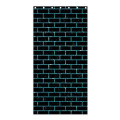 Brick1 Black Marble & Turquoise Glitter (r) Shower Curtain 36  X 72  (stall)  by trendistuff