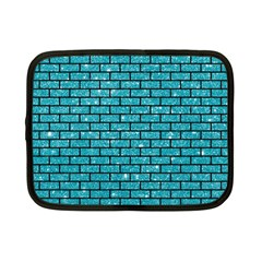 Brick1 Black Marble & Turquoise Glitter Netbook Case (small)  by trendistuff