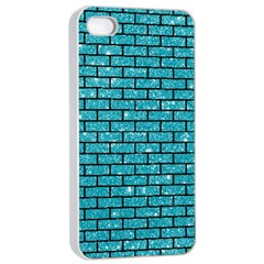 Brick1 Black Marble & Turquoise Glitter Apple Iphone 4/4s Seamless Case (white) by trendistuff