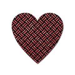 Woven2 Black Marble & Red Glitter (r)woven2 Black Marble & Red Glitter (r) Heart Magnet by trendistuff