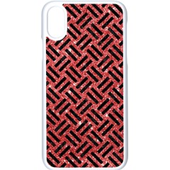 Woven2 Black Marble & Red Glitter Apple Iphone X Seamless Case (white)
