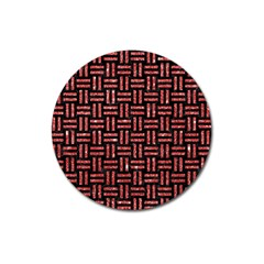 Woven1 Black Marble & Red Glitter (r) Magnet 3  (round) by trendistuff
