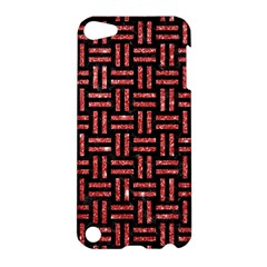 Woven1 Black Marble & Red Glitter (r) Apple Ipod Touch 5 Hardshell Case by trendistuff