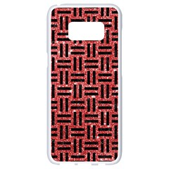 Woven1 Black Marble & Red Glitter Samsung Galaxy S8 White Seamless Case by trendistuff