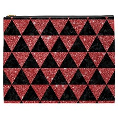 Triangle3 Black Marble & Red Glitter Cosmetic Bag (xxxl)  by trendistuff