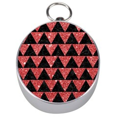 Triangle2 Black Marble & Red Glitter Silver Compasses by trendistuff