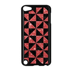 Triangle1 Black Marble & Red Glitter Apple Ipod Touch 5 Case (black) by trendistuff