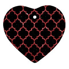 Tile1 Black Marble & Red Glitter (r) Heart Ornament (two Sides) by trendistuff