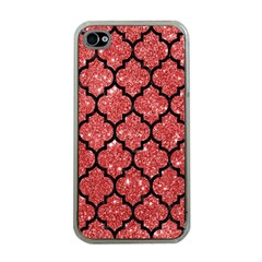 Tile1 Black Marble & Red Glitter Apple Iphone 4 Case (clear) by trendistuff