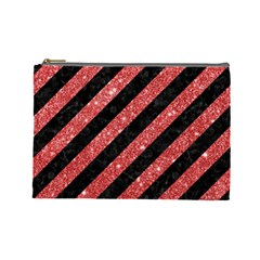 Stripes3 Black Marble & Red Glitter (r) Cosmetic Bag (large)  by trendistuff