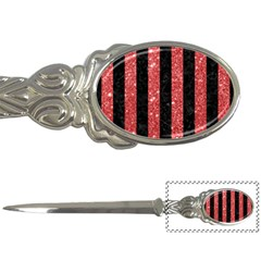 Stripes1 Black Marble & Red Glitter Letter Openers by trendistuff