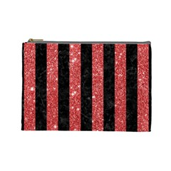 Stripes1 Black Marble & Red Glitter Cosmetic Bag (large)  by trendistuff