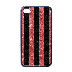 Stripes1 Black Marble & Red Glitter Apple Iphone 4 Case (black) by trendistuff