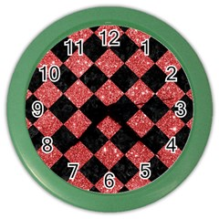 Square2 Black Marble & Red Glitter Color Wall Clocks by trendistuff