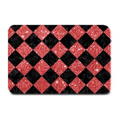 Square2 Black Marble & Red Glitter Plate Mats by trendistuff
