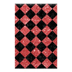 Square2 Black Marble & Red Glitter Shower Curtain 48  X 72  (small)  by trendistuff