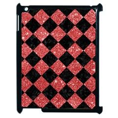 Square2 Black Marble & Red Glitter Apple Ipad 2 Case (black) by trendistuff