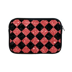 Square2 Black Marble & Red Glitter Apple Ipad Mini Zipper Cases by trendistuff