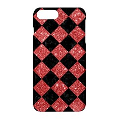 Square2 Black Marble & Red Glitter Apple Iphone 8 Plus Hardshell Case by trendistuff