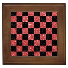 Square1 Black Marble & Red Glitter Framed Tiles by trendistuff