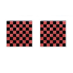 Square1 Black Marble & Red Glitter Cufflinks (square) by trendistuff