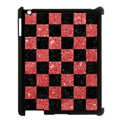 Square1 Black Marble & Red Glitter Apple Ipad 3/4 Case (black) by trendistuff