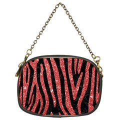 Skin4 Black Marble & Red Glitter Chain Purses (two Sides)  by trendistuff