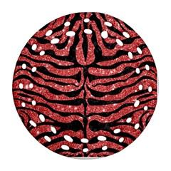 Skin2 Black Marble & Red Glitter Ornament (round Filigree) by trendistuff