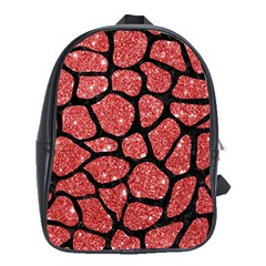 Skin1 Black Marble & Red Glitter (r) School Bag (xl) by trendistuff