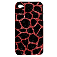 Skin1 Black Marble & Red Glitter Apple Iphone 4/4s Hardshell Case (pc+silicone) by trendistuff